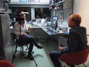 Associate Prof. Øystein Varpe interviewed by Anne-Laure Simonelli to evaluate the TE2LE activities. Photo: Paolo Simonelli.