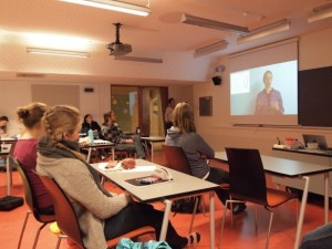 Students watching the video tutorials they created with TE2LE. Photo: Paolo Simonelli.
